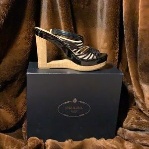 Prada Shoes - Prada Patent Leather Cut-out wedges